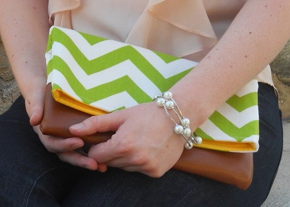 Green chevron fold over clutch made with leather, bridesmaid zig zag green fold over bag