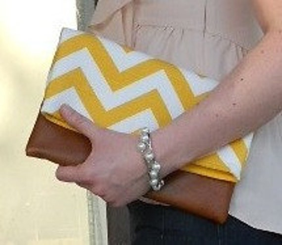 yellow fold over clutch, clutch with leather bottom, bridesmaid zig zag, purse, yellow