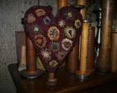 Primitive Penny Heart Make Do Rug Hooking Pattern
