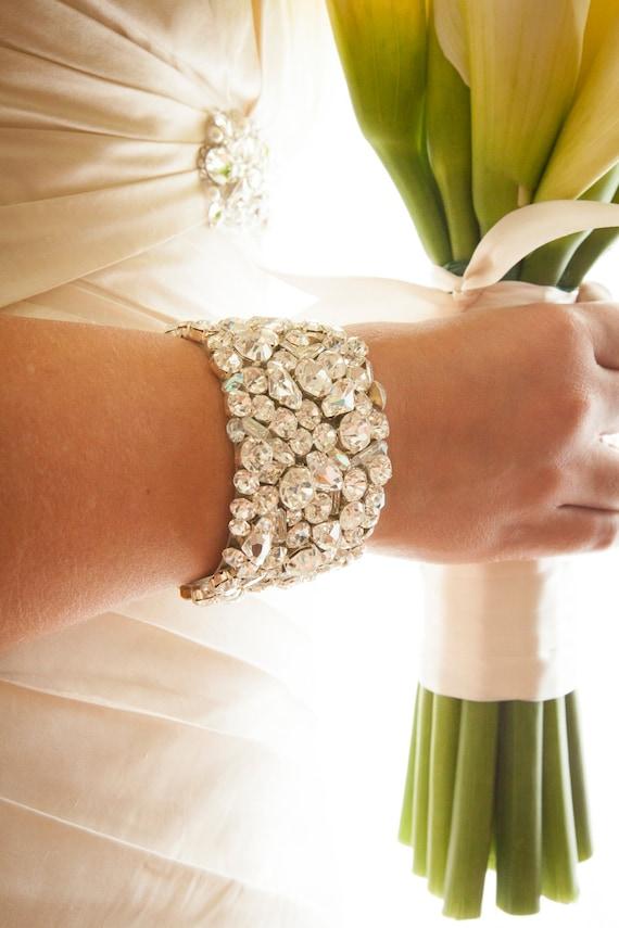Wedding Cuff Bracelet - swarovski bridal bracelet, chunky wedding rhinestone bracelet, 2 inch wide cuff, wedding jewelry
