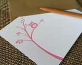 letterpress flat notecards (set of 10) - pink owl on branch