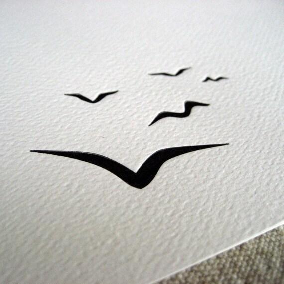 letterpress greeting card - flock of birds