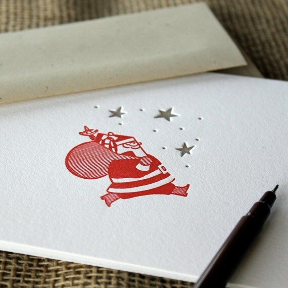 letterpress holiday cards (set of 10) - red santa with gold stars