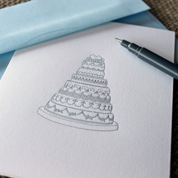 letterpress greeting card - ornate wedding cake