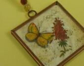 Butterflly Fall Flower Collage Art Pendant