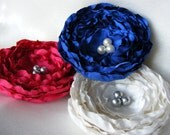 Red White Blue Clip Fabric Flower