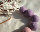 Pink and lilac  felt necklace