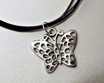 Filigree, butterfly necklace, from Spain, 3 strands, waxed cotton, silver clasp