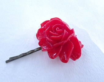 SALE. Red rose bobby pin. Large cabochon hair grip