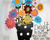 11 x 14 Original Acrylic Painting - Art - Children's Art - Canvas - Scripture - Folk - Flowers - Funky