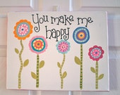 11 x 14 Original Acrylic Painting - Art - Children's Art - Canvas -  You make me happy