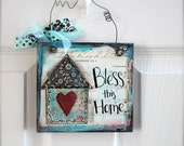 "6"" x 6"" - Mixed Media - Original Art - Inspirational Art-  Bless This Home - READY to SHIP"