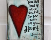 "8 x 10""  - Mixed Media - Original Art - Inspirational Art-  Jeremiah 29:13 - READY to SHIP"