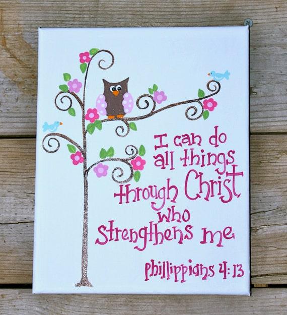 8 x 10 Bible Verse Original Painting - Children's Art - Canvas - scripture -Phillippians