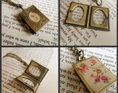 Shakespearean book locket necklace, old bard play paper inside, calico fabric outside, Literary Classics