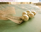 New Years Sale Grace and Elegance large pearl and beige lace necklace, adjustable