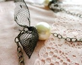 New Years Sale Playing Dress Up large pearl and black tied tulle long necklace, romantic and classy