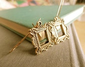 Artist Statement tiny antiqued gold open frame earrings, miniature photo frames