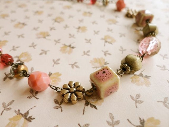 Dessert First romantic style mixed beaded pink tones necklace, pink, brass, gold