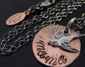 D2E - Mama bird hand stamped penny charm jewelry necklace -- wax cast sterling silver bird -- mother -- sparrow