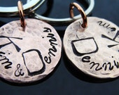 D2E -   His and Hers Anniversary gift set keychains  hammered hand stamped lucky penny keychains