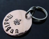 D2E --  hand hammered hand stamped penny pet tag -- your phone number on back