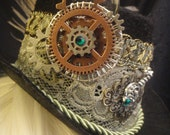 Steampunk Mini Top Hat - Sage and Ivory Peacock and Striped Rooster Feathers - Gears Sprokets Key Lace and Rhinestones