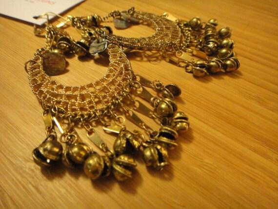 Golden Weave - Belly Dancer Earrings - Chandelier Whispering Bells Beads - Dangling Lever Back Chainmaille