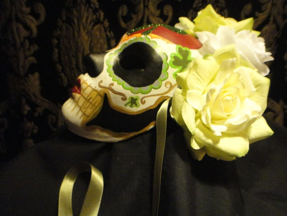 Irish Bride Lucky Clover - Day of the Dead Mask - Irish Dia de los muertos - Shamrock Four Leaf White and Green Roses