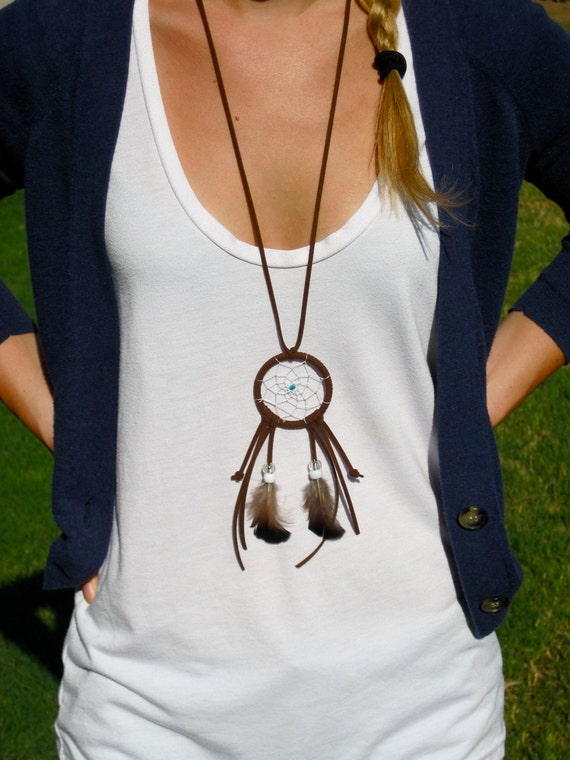 Brown with Clear/White Dreamcatcher Necklace