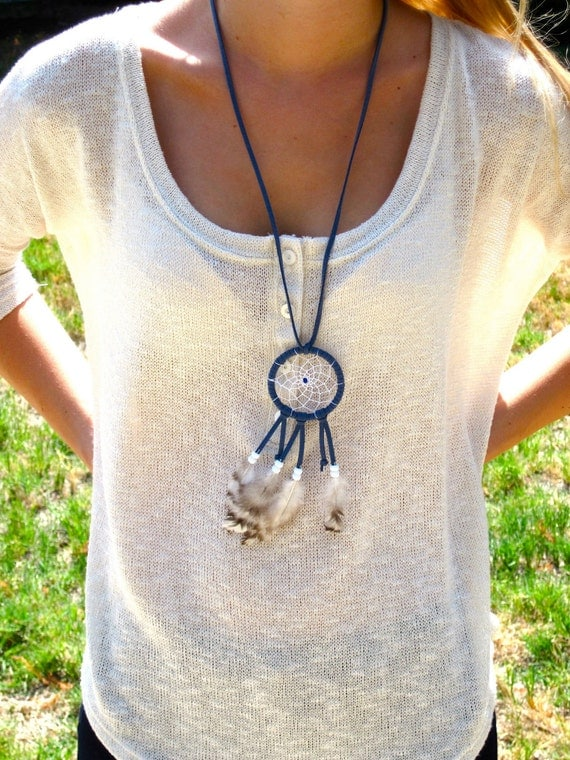 Blue with White Beads Dreamcatcher Necklace