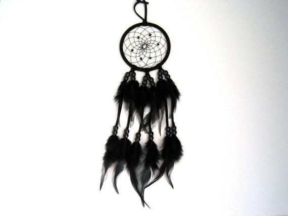 "3"" Black with Black Beads Dreamcatcher"