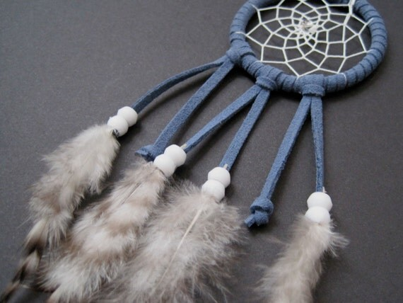 """2"""" Blue with White Beads Dreamcatcher"""