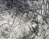 """Swarm, abstract, original 9.75"""" x 10"""" hand-pulled intaglio copperplate printmaking plate on 22"""" x 30"""" paper"""