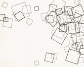 "Squares, original, small 7.5"" x 8"" abstract, geometric drawing"