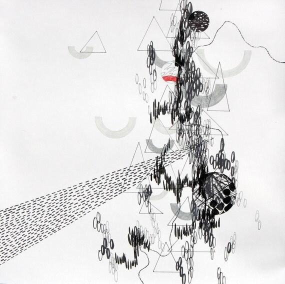 "Lethargic, small, original, abstract 10"" x 10"" drawing"