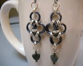 Gunmetal and Silver JAPANESE CROSS Chainmaille Earrings