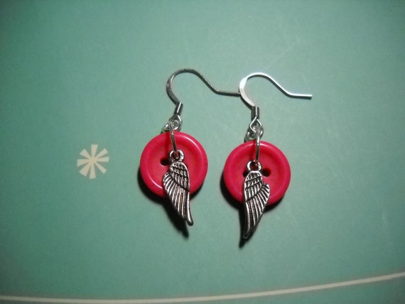 Angel Wings and Buttons Earrings