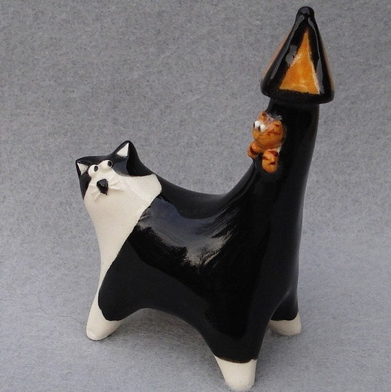 ceramic cat miniature with fairytale tail