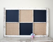 Reserved - Vintage repurposed window magnetic chalkboard and burlap covered cork board