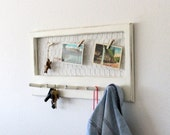 Vintage repurposed cream distressed display frame, key holder, coat hanger, and organizer