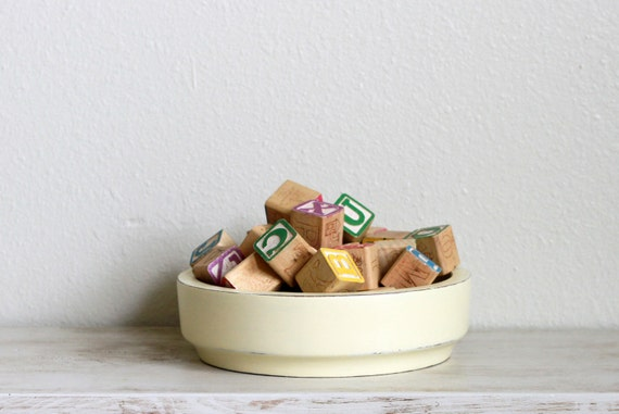 French vanilla vintage wood bowl