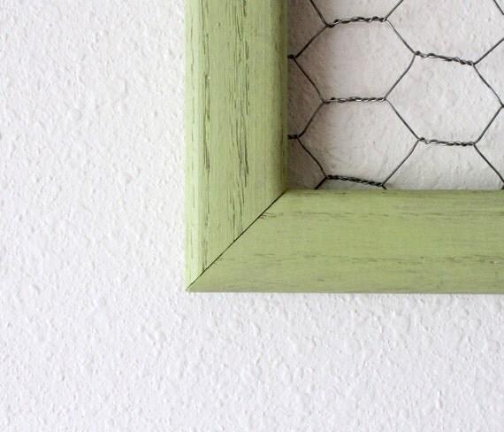 Vintage repurposed tea green display frame