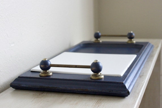 Navy blue large wood serving tray