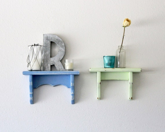Pair of small vintage distressed shelves, cornflower blue and honeydew green
