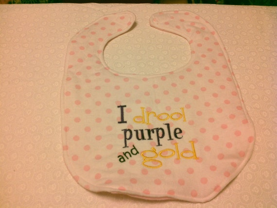 LSU I Drool Purple and Gold on Pink Polka Dot Flannel Embroidery Handmade Baby Bib