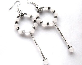 White quartz hoop earrings, bead jewelry, white dangle earrings
