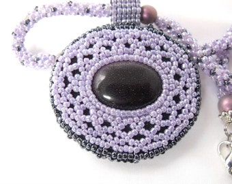 Lilac necklace - beaded jewelry - woven black, lilac jewelry