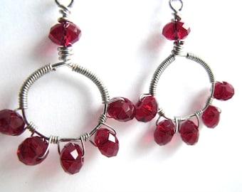 Red crystal hoop earrings | wire wrapped earrings | beaded red earrings | beaded red jewelry | ruby red hoops | glass earrings