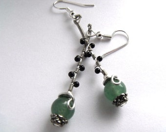 Black & green dangle earrings   green beaded jewelry   onyx wire wrap earrings   green dangle earrings